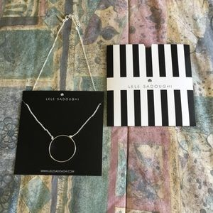 Silver circle disk necklace